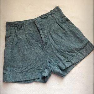 Chambray High Waisted Cuffed Linen Shorts